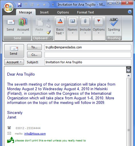 result personalised email invitation