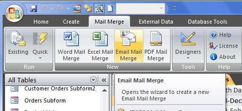 mailmerge on the ribbon