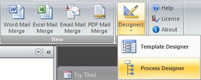 mail merge designer placed on the ribbon