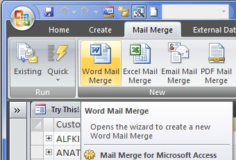 mail merge software situated on the ribbon