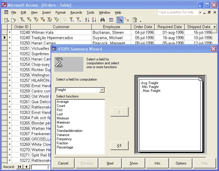 4TOPS Data Analysis for MS Access 97 screenshot